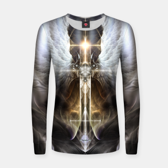 Thumbnail image of Heavenly Angel Wing Cross Black Steel Fractal Art Composition Women sweater, Live Heroes