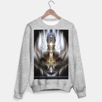 Thumbnail image of Heavenly Angel Wing Cross Black Steel Fractal Art Composition Sweater regular, Live Heroes