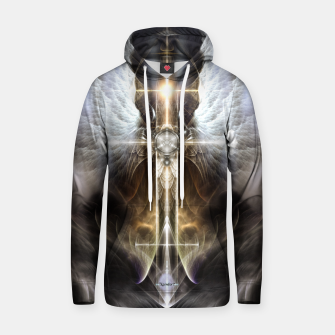 Thumbnail image of Heavenly Angel Wing Cross Black Steel Fractal Art Composition Hoodie, Live Heroes