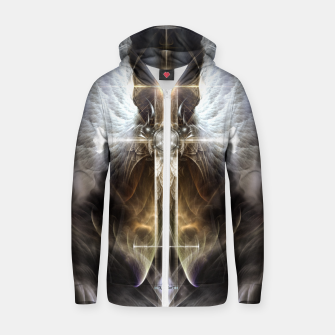Thumbnail image of Heavenly Angel Wing Cross Black Steel Fractal Art Composition Zip up hoodie, Live Heroes