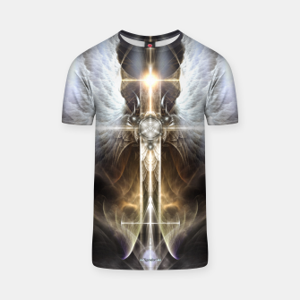 Thumbnail image of Heavenly Angel Wing Cross Black Steel Fractal Art Composition T-shirt, Live Heroes