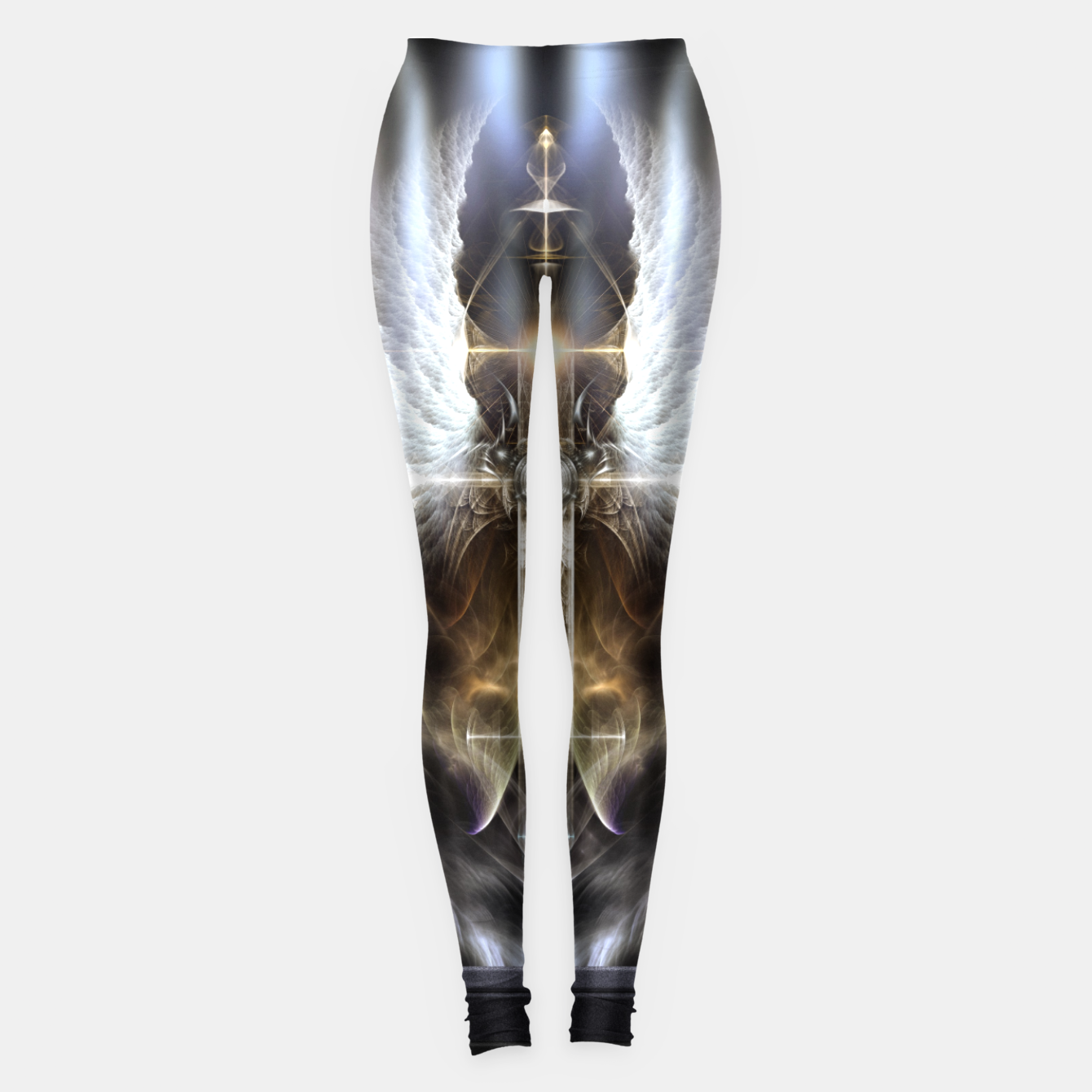 Image of Heavenly Angel Wing Cross Black Steel Fractal Art Composition Leggings - Live Heroes