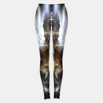 Thumbnail image of Heavenly Angel Wing Cross Black Steel Fractal Art Composition Leggings, Live Heroes