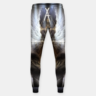 Thumbnail image of Heavenly Angel Wing Cross Black Steel Fractal Art Composition Sweatpants, Live Heroes