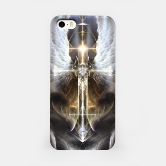 Heavenly Angel Wing Cross Black Steel Fractal Art Composition iPhone Case thumbnail image