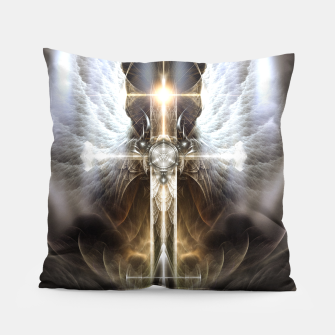 Heavenly Angel Wing Cross Black Steel Fractal Art Composition Pillow thumbnail image