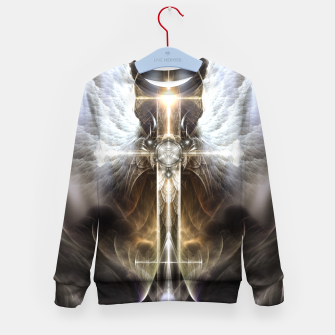 Thumbnail image of Heavenly Angel Wing Cross Black Steel Fractal Art Composition Kid's sweater, Live Heroes