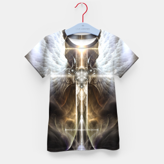 Heavenly Angel Wing Cross Black Steel Fractal Art Composition Kid's t-shirt thumbnail image