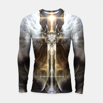 Thumbnail image of Heavenly Angel Wing Cross Black Steel Fractal Art Composition Longsleeve rashguard , Live Heroes