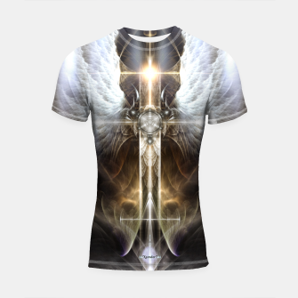 Thumbnail image of Heavenly Angel Wing Cross Black Steel Fractal Art Composition Shortsleeve rashguard, Live Heroes