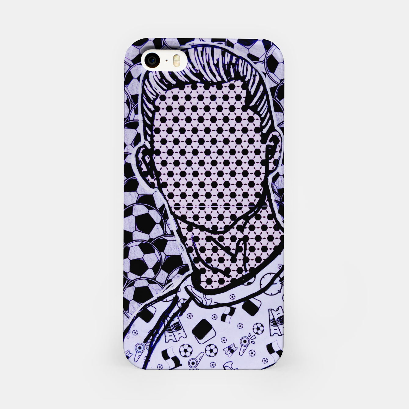 Image of Cristiano cr7 Ronaldo dots soccer celebrity portrait by Yulia A Korneva iPhone Case - Live Heroes