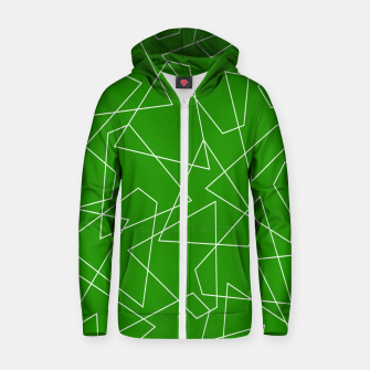 Miniaturka Abstract geometric pattern - green and white. Zip up hoodie, Live Heroes