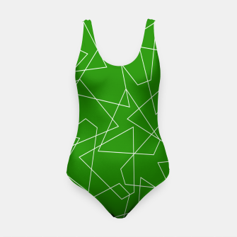 Miniaturka Abstract geometric pattern - green and white. Swimsuit, Live Heroes
