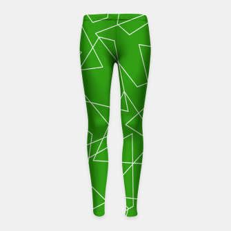 Miniaturka Abstract geometric pattern - green and white. Girl's leggings, Live Heroes