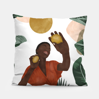 Thumbnail image of Woman with lemons Almohada, Live Heroes