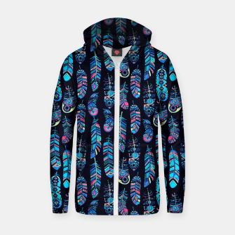Thumbnail image of Boho Feathers Pattern Zip up hoodie, Live Heroes