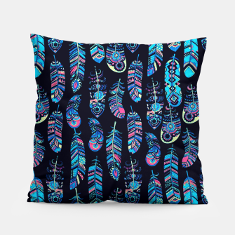 Miniatur Boho Feathers Pattern Pillow, Live Heroes