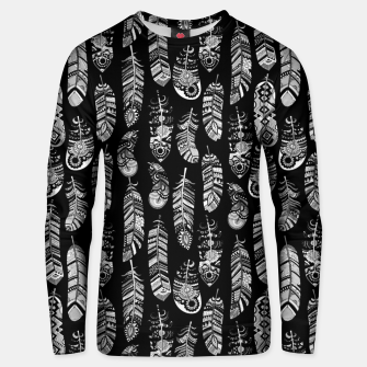 Thumbnail image of Monochrome Boho Feathers Pattern Unisex sweater, Live Heroes