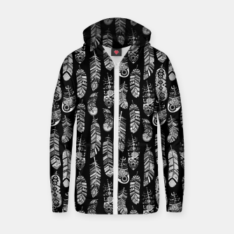 Thumbnail image of Monochrome Boho Feathers Pattern Zip up hoodie, Live Heroes