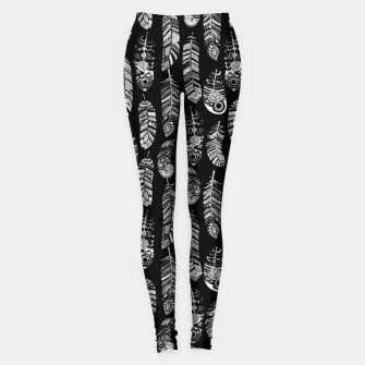 Thumbnail image of Monochrome Boho Feathers Pattern Leggings, Live Heroes