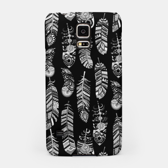 Miniatur Monochrome Boho Feathers Pattern Samsung Case, Live Heroes