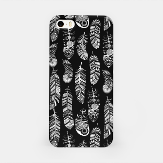 Thumbnail image of Monochrome Boho Feathers Pattern iPhone Case, Live Heroes