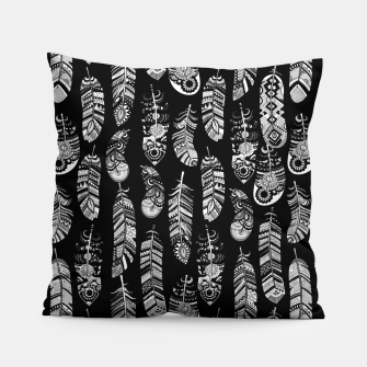 Miniatur Monochrome Boho Feathers Pattern Pillow, Live Heroes