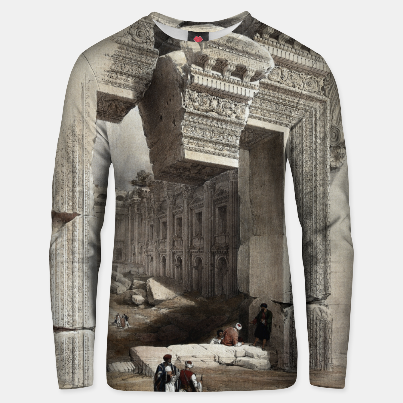 Zdjęcie Carved Stone Doorway at Baalbec, Colored Lithograph by Louis Haghe Unisex sweater - Live Heroes