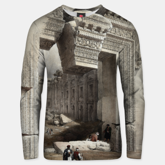 Thumbnail image of Carved Stone Doorway at Baalbec, Colored Lithograph by Louis Haghe Unisex sweater, Live Heroes