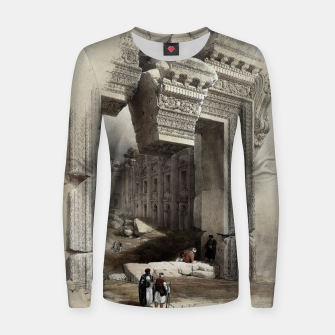 Thumbnail image of Carved Stone Doorway at Baalbec, Colored Lithograph by Louis Haghe Women sweater, Live Heroes