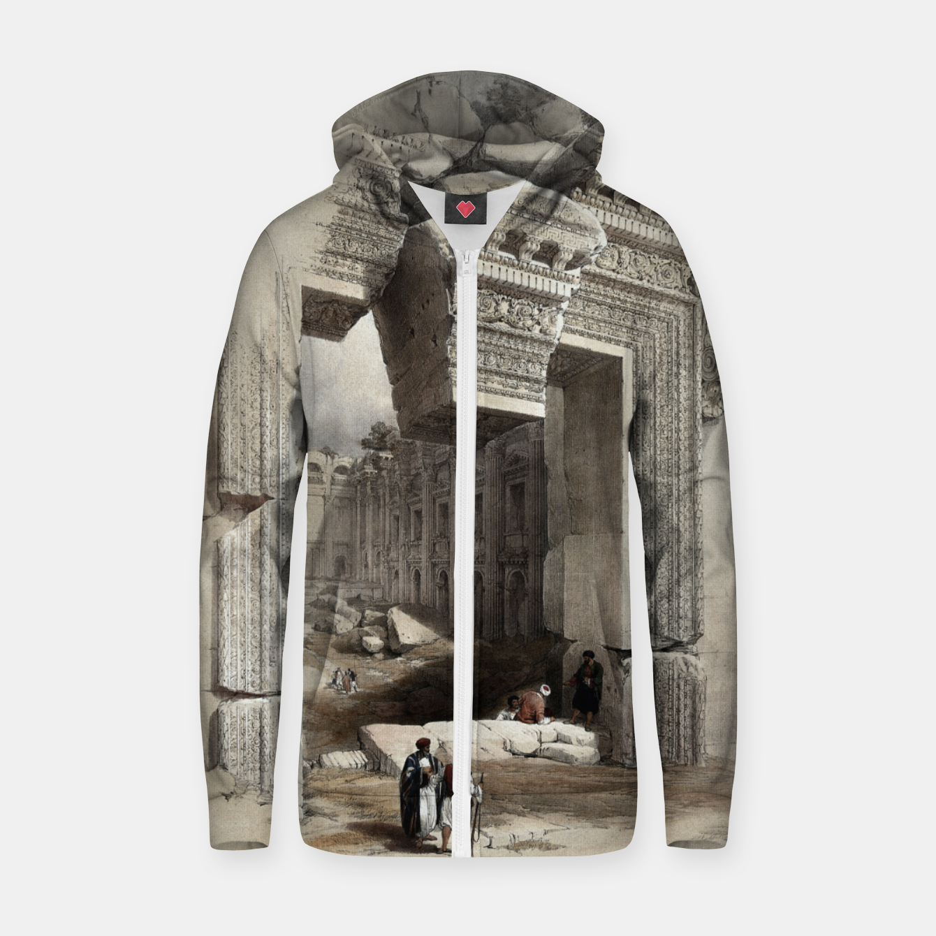 Image of Carved Stone Doorway at Baalbec, Colored Lithograph by Louis Haghe Zip up hoodie - Live Heroes