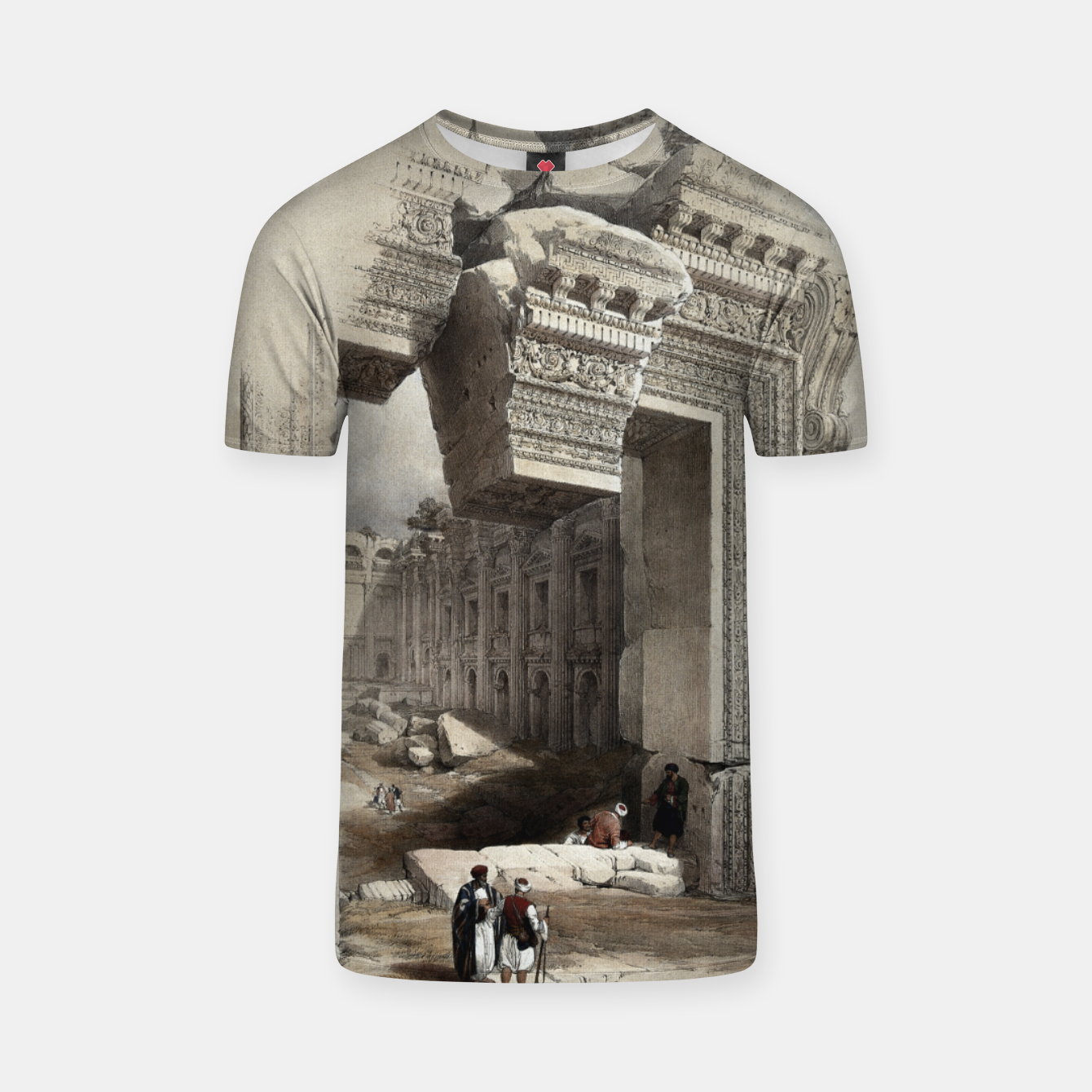 Zdjęcie Carved Stone Doorway at Baalbec, Colored Lithograph by Louis Haghe T-shirt - Live Heroes