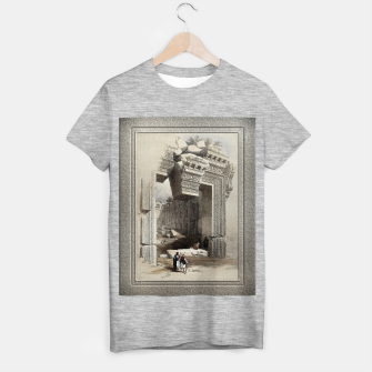 Thumbnail image of Carved Stone Doorway at Baalbec, Colored Lithograph by Louis Haghe T-shirt regular, Live Heroes