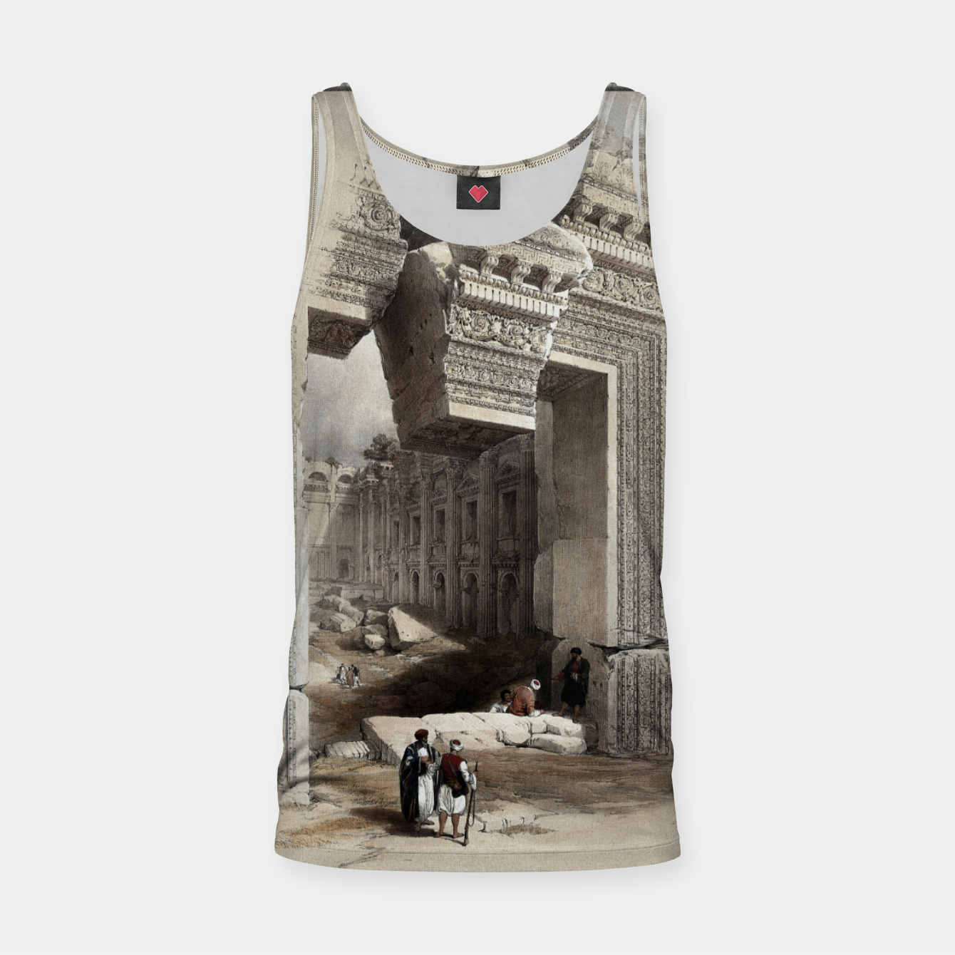 Image of Carved Stone Doorway at Baalbec, Colored Lithograph by Louis Haghe Tank Top - Live Heroes