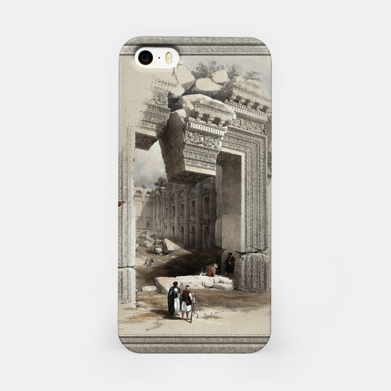 Zdjęcie Carved Stone Doorway at Baalbec, Colored Lithograph by Louis Haghe iPhone Case - Live Heroes