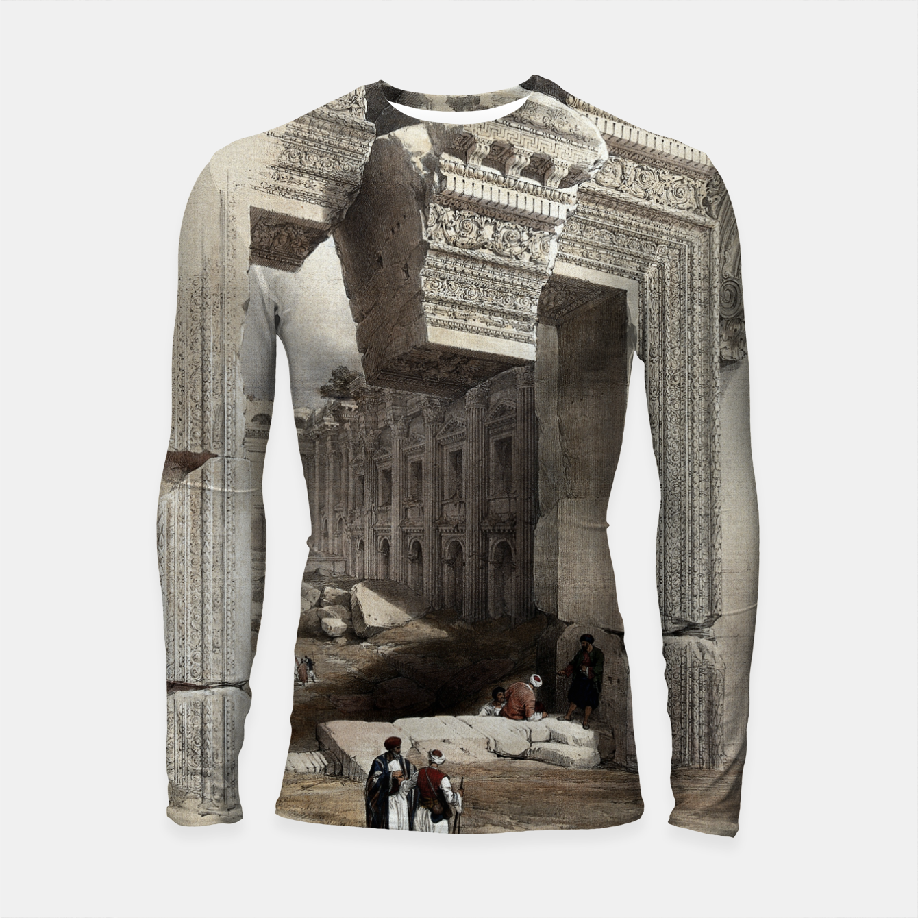 Zdjęcie Carved Stone Doorway at Baalbec, Colored Lithograph by Louis Haghe Longsleeve rashguard  - Live Heroes