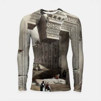 Thumbnail image of Carved Stone Doorway at Baalbec, Colored Lithograph by Louis Haghe Longsleeve rashguard , Live Heroes