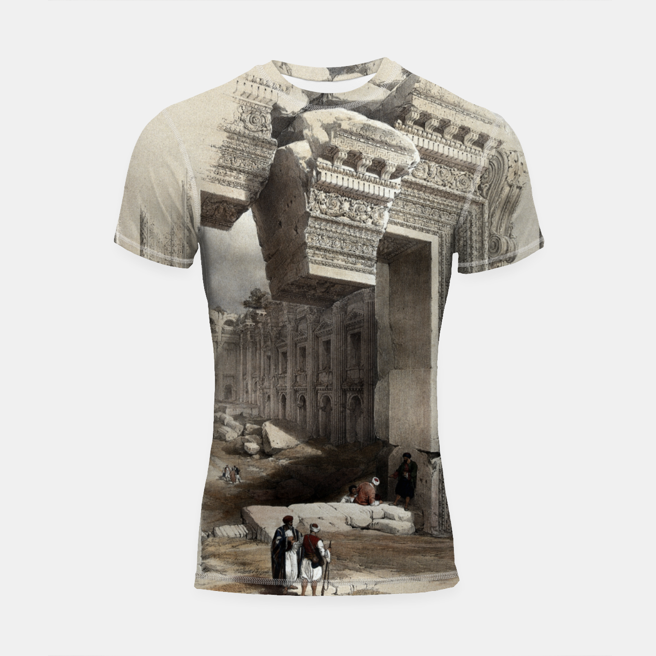Zdjęcie Carved Stone Doorway at Baalbec, Colored Lithograph by Louis Haghe Shortsleeve rashguard - Live Heroes