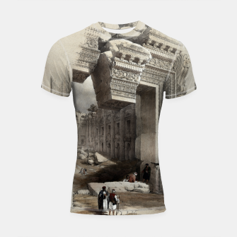 Thumbnail image of Carved Stone Doorway at Baalbec, Colored Lithograph by Louis Haghe Shortsleeve rashguard, Live Heroes