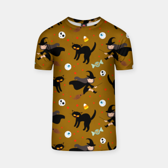 Thumbnail image of Vintage Halloween Pattern Witch With Broom And Black Cat T-shirt, Live Heroes