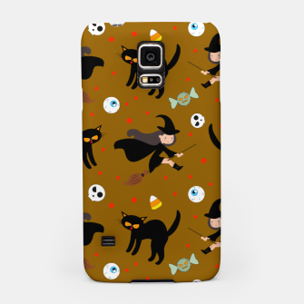 Miniature de image de Vintage Halloween Pattern Witch With Broom And Black Cat Samsung Case, Live Heroes