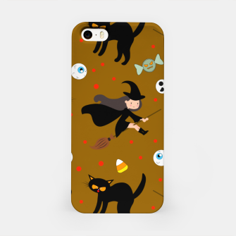 Miniature de image de Vintage Halloween Pattern Witch With Broom And Black Cat iPhone Case, Live Heroes