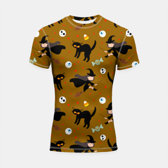 Thumbnail image of Vintage Halloween Pattern Witch With Broom And Black Cat Shortsleeve rashguard, Live Heroes