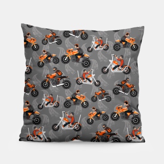 Miniatur Motorcycle Pattern Pillow, Live Heroes