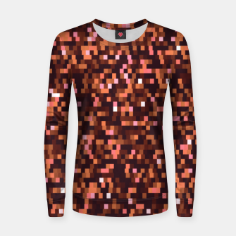 Miniaturka Cinnamon, caramel and almond, brown shades pixels, geometric background Women sweater, Live Heroes