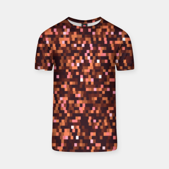 Thumbnail image of Cinnamon, caramel and almond, brown shades pixels, geometric background T-shirt, Live Heroes