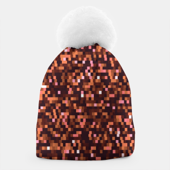 Miniaturka Cinnamon, caramel and almond, brown shades pixels, geometric background Beanie, Live Heroes