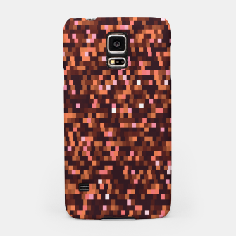 Miniaturka Cinnamon, caramel and almond, brown shades pixels, geometric background Samsung Case, Live Heroes