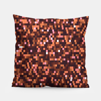 Miniatur Cinnamon, caramel and almond, brown shades pixels, geometric background Pillow, Live Heroes