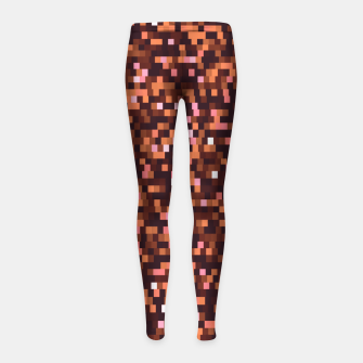 Miniaturka Cinnamon, caramel and almond, brown shades pixels, geometric background Girl's leggings, Live Heroes